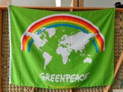 Un drapeau Greenpeace dans les locaux de l'ONG, le 10 septembre 2021 à Amsterdam, aux Pays-Bas    John THYS [AFP]