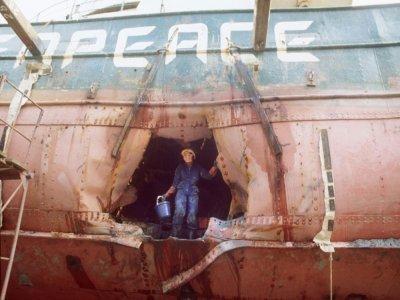 La coque éventré du Rainbow Warrrior, navire phare de l'ONG Greenpeace, après un sabotage des services secrets français, le 9 juillet 1985 dans le port d'Auckland, en Nouvelle-Zélande    ROSS WHITE [AFP/Archives]
