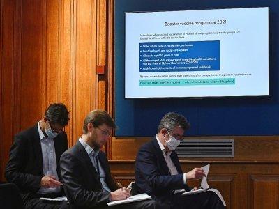 Présentation devant la presse des dernières mesures contre le Covid-19 le 14 septembre 2021 à Londres    JUSTIN TALLIS [POOL/AFP]