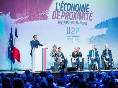 Emmanuel Macron le 16 septembre 2021 à Paris aux assises de l'U2P - Christophe PETIT TESSON [POOL/AFP]