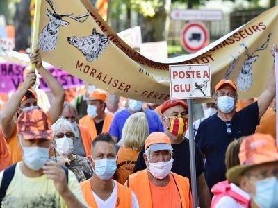 Manifestation pour la chasse à la glu à Prades le 12 septembre 2020 - RAYMOND ROIG [AFP/Archives]