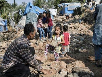 Le bidonville de Vathy sur l'île de Samos en grèce, le 18 juin 2019 - LOUISA GOULIAMAKI [AFP/Archives]