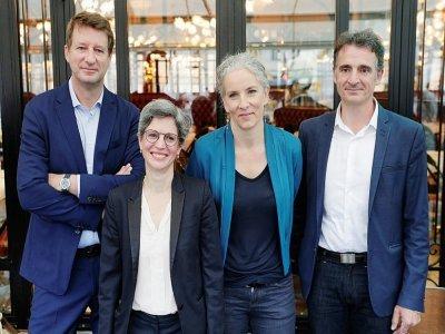 Quatre des cinq candidats écologistes réunis le 12 juillet 2021 à Paris: Yannick Jadot, Sandrine Rousseau, Delphine Batho et Eric Piolle - GEOFFROY VAN DER HASSELT [AFP/Archives]