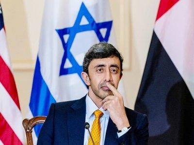 Le ministre des Affaires étrangères émirati Cheikh Abdallah ben Zayed Al Nahyane, le 13 octobre 2021 à Washington - Andrew Harnik [POOL/AFP]
