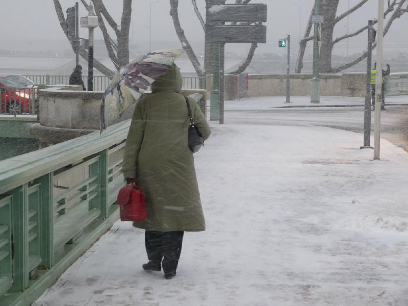 Une passante sous la neige et le vent, vers 18h - Thomas Blachère