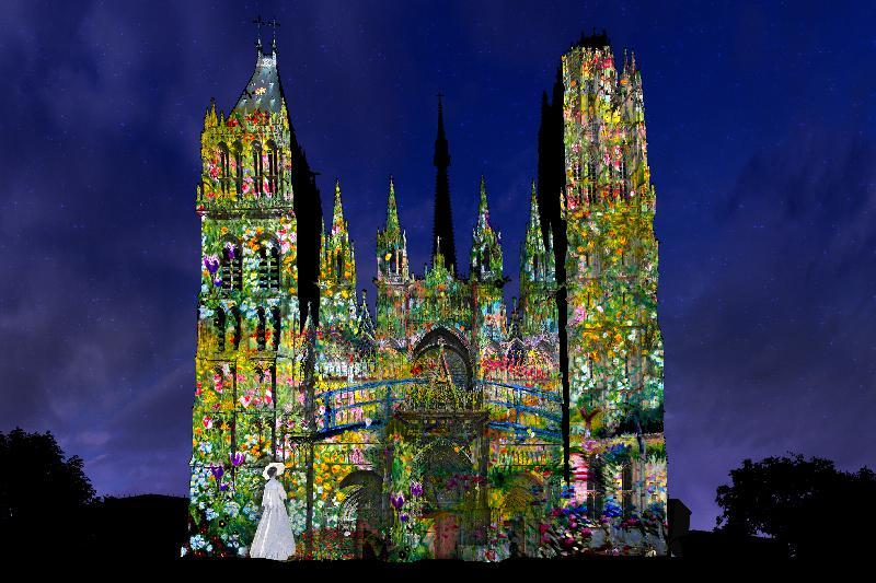 La cathédrale de Rouen s'illuminera tous les soirs avec un spectacle son et lumière évoquant l'impressionnisme. - Photo Cosmo AV
